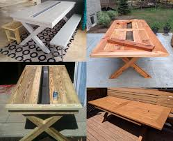 Plans For Outdoor Picnic Table by 13 Diy Cooler Table Plans To Build For Outdoor Beer Drinks Or