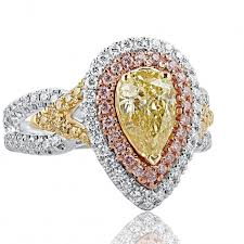 fancy yellow diamond engagement rings 2 07 tcw pear shaped fancy yellow diamond engagement ring 18k