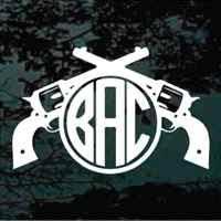 monogram stickers pistols crossed monogram decals decal