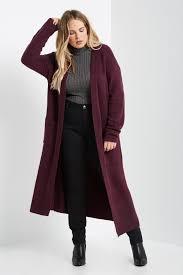 plum sleeve open front maxi cardigan sweater plus size
