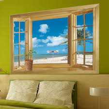 high quality new 3d window scenery sea beach view wall sticker
