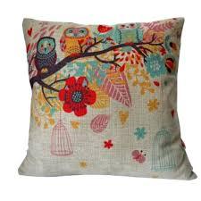 decorative throw pillow case cushion cover owls with birdcag owl