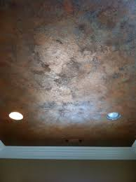 knock down textured finish with metallic waxes on ceiling by