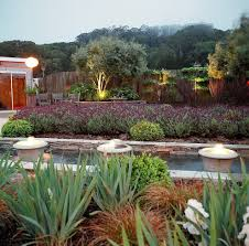 lavender garden landscape mediterranean with fountain bamboo