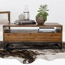 industrial coffee table with drawers logan industrial storage coffee table natural west elm