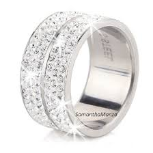 crystal pave rings images 6 row pave set swarovski crystal eternity stainless steel ring jpeg