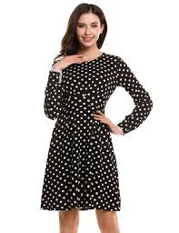 women long sleeve polka dots casual cocktail party skater dress