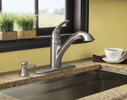 moen kitchen faucet with soap dispenser moen ca87550srssd caprillo single handle pullout kitchen faucet