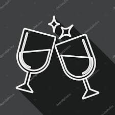 martini glasses cheers martini glass cheers flat icon with long shadow line icon u2014 stock