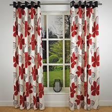 Danielle Eyelet Curtains by Red Floral Curtains Summer Palace Cranberry Red Floral Linen