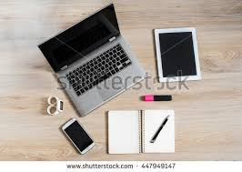 Computer Desk Gadgets Gadgets Devices On Table Pc Computer Stock Photo 447949303