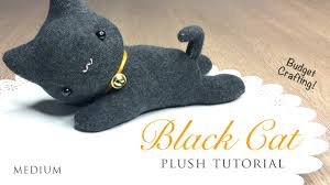diy black cat plush and halloween hairband tutorial youtube
