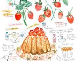 Items Similar To Art Print - items similar to strawberry charlotte russe recipe kitchen art