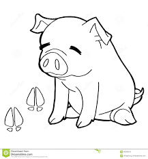 pig with paw print coloring pages vector stock vector image