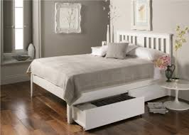 White Wood Furniture Malmo White Wooden Bed Frame Double Bed Frame Only Whiston