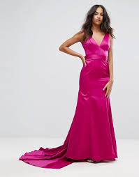 bariano dresses bariano bariano fishtail satin maxi dress with structured bow back