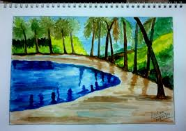 water colour painting u2013 pond and trees random indites