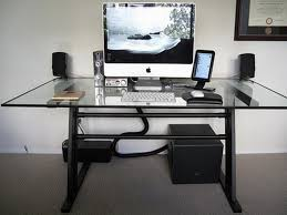Home Office Executive Computer Desk Beautiful L Shape Computer Desks Wood And Glass Material White