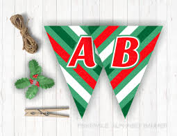 alphabet banner letters a z green christmas pennants printable