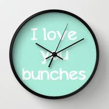 art wall clock i love you bunches typography mint green home decor