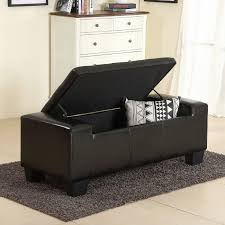 Large Storage Ottoman Bench New 51 Black Faux Leather Solid Rectangular Large Storage