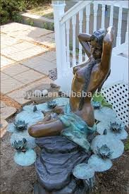 bronze statue sculpture garden decor water