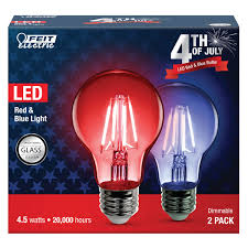 Led Blue Light Bulb by A19 Clear Glass Red And Blue Led Bulbs Feit Electric