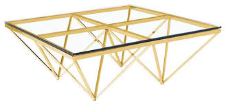 Metal And Glass Coffee Table Zest Coffee Table Gold Steel And Glass Contemporary Coffee
