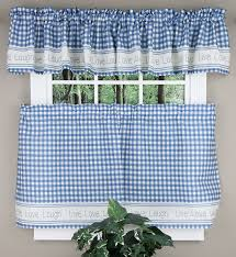 gingham stitch curtains blue lorraine home fashions kitchen