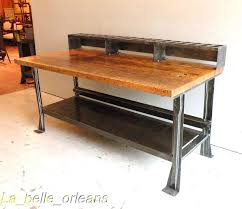 wood top work table awsome vintage industrial steel and maple top island for sale