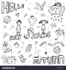 hello autumn back happy halloween stock vector 496434871