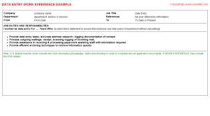 resume data entry duties data entry cv work experience