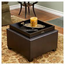 Leather Storage Ottoman Andrea Tray Top Storage Ottoman Brown Christopher Knight Home