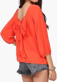 sleeve chiffon blouse orange plain bow sleeve chiffon blouse blouses tops