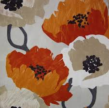 ivory upholstery fabric orange floral fabric modern orange fabric by the yard