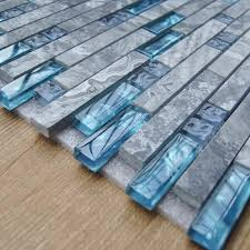 Sea Blue Glass Tile Kitchen Backsplash Marble Bathroom - Linear tile backsplash