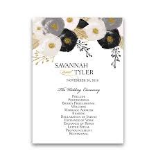 order of wedding program blush and gold floral wedding order of service program
