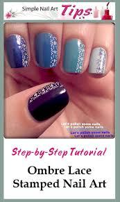 great tutorial on how to do blue ombre stamped lace nail art at