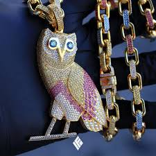 colored necklace chains images Custom fully iced multi colored ovo owl on hermes link chain jpg