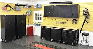 Yellow Metal Storage Cabinet Garage Wall Storage Cabinet In Gray Finished Made Of Solid Wood
