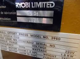 single colour used offset printing machines ryobi itek 3980 single