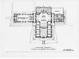 calisphere architectural drawing of proposed library floor plan
