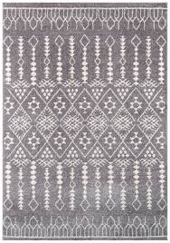 White And Gray Area Rug Moroccan Boho Rugs Woodwaves