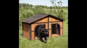 Doghouse For Large Dogs Merry Products Darker Stain Duplex Dog House With Free Dog Doors