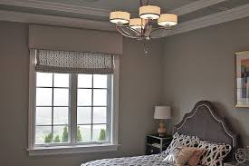 Contemporary Cornices Roman Shades With Elegant Trimmed Cornice In The Bedroom