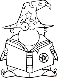 funny wizard holding a magic book coloring page free printable