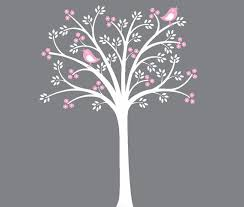 White Tree Wall Decal Nursery White Tree Decal Pink Flowers White Grey Nursery Themed Decor