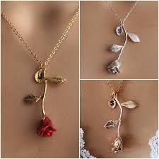 gold red rose necklace images Original red rose necklace gold rose beauty and the beast etsy jpg