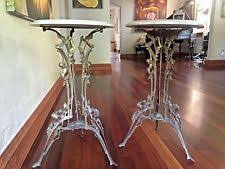 antique marble top pedestal table 2 rare beautiful vintage antique brass art nouveau marble top