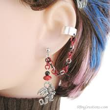 earring with chain to cartilage cartilage chain earrings elfling creations online store